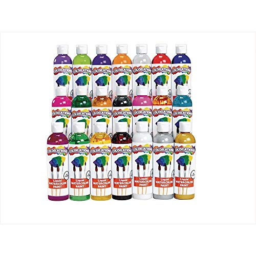 Colorations Liquid Watercolor Paints 8 oz. Bottles Classroom Supplies for Arts and Crafts Multicolor Variety Pack (Pack of 21)