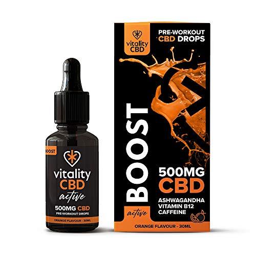 Vitality CBD Active Boost Drops with Vitamin B12, Caffeine, Ashwagandha, 500mg of CBD, 30ml, Orange Flavour
