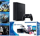2019 Playstation 4 Slim PS4 1TB Console + Playstation VR Headset + Playstation Camera + Playstation VR Move Controllers + 5 Games Bundle