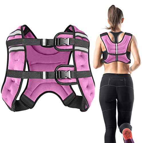 Vailge Chaleco lastrado, 2 kg/5 kg/10 kg, entrenamiento con pesas para fitness, entrenamiento de fuerza, correr, entrenamiento cruzado, desarrollo muscular (2 kg, rosa)
