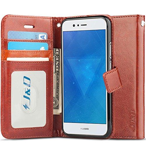 J&D Compatible para Huawei Nova 2 Funda, [Protección de Cartera] [Soporte Plegable] Funda Pesada Resistentes Billetera para Huawei Nova 2 Funda Cuero - Marrón