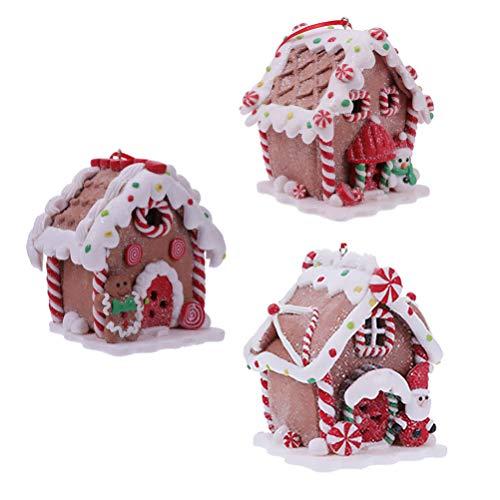 TOYANDONA 3 Unids Navidad Led Casa de Pan de Jengibre Santa Muñeco de Nieve Pueblo de Navidad Decoraciones Colgantes Masa de Arcilla Adornos Navideños de Figuras Navideñas Juguetes
