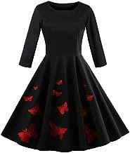 Retro Vintage Dress,Fashion Womens Butterfly Embroidery O-Neck Long Sleeve Retro Vintage Dress Swing Midi Dress
