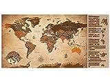 murando Rubbelweltkarte deutsch XXL 100x50 cm Weltkarte zum Rubbeln mit Länder-Flaggen Laminiert Design Geschenk-Tube Viele Extras Rubbel Landkarte Poster zum freirubbeln World Map k-A-0251-o-b