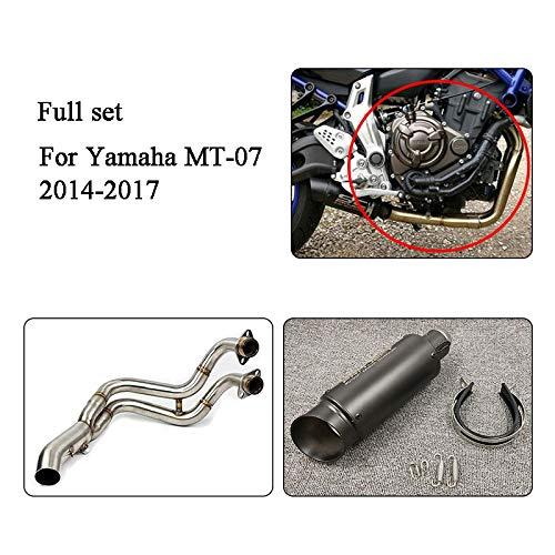 YUQINN Motorradteile MT07 MT07 FZ07 FZ07 MT 07 Motorrad-Schalldämpfer Auspuffanlage Kontakt Mid-Rohr-Schlauch-Beleg auf for Yamaha MT-07 FZ07 2014-2017 (Color : B for MT 07 FZ 07)