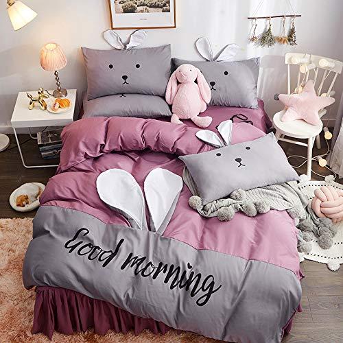 GYZBYBettwäsche Cute Bunny Vierteilige Einfache Gebürstete Bettwäsche Bettwäsche/Bett Rock