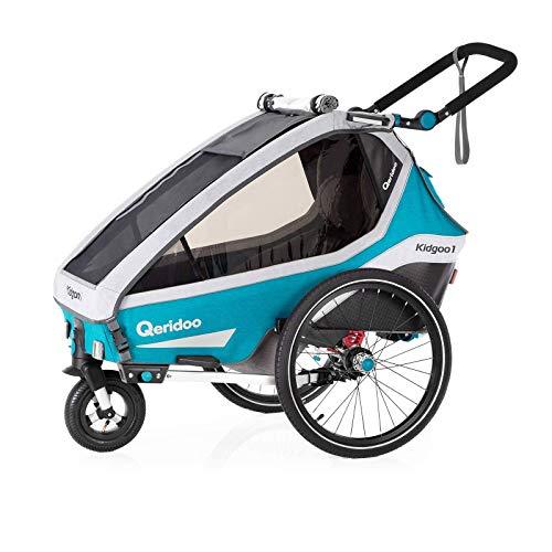 Qeridoo Kidgoo 1 (2020) Kinderfahrradanhänger, Fahrradanhänger 1 Kind - Petrol