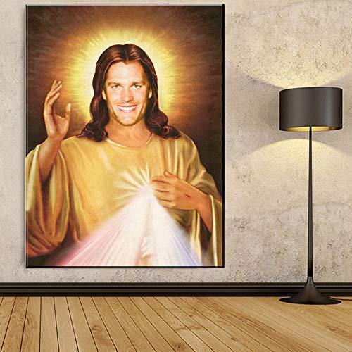 Leinwandbilder Wandbilder Jesus Gott Aura Poster und Drucke Wandbilder Wohnzimmer Dekoration zu Hause rahmenlose dekorative Gemälde A52 70x100cm