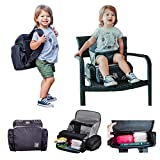 3 in 1 - Cozy Travel Booster Seat/Backpack/Diaper Bag for Your Toddler/Baby. Perfect for Home or Travel. Great Baby Shower Gift (Black/Gray)