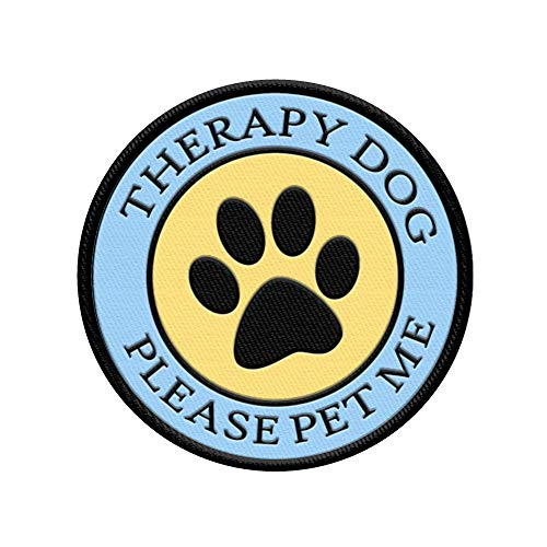 WORKINGSERVICEDOG.COM Therapy Dog - Please Pet Me - Sew On Patch for Therapy Dog Vest or Harness
