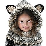 Hosaire 1X Hiver Bonnet/Écharpe en Laine Tricoté en Forme Renard pour Enfant Fille