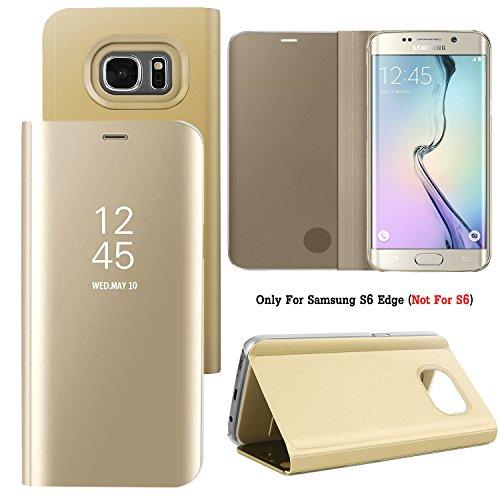 Samsung Galaxy S6 Edge – Schutzhülle Samsung Clear View Cover EF-ZG925BFEGWW – Farbe Gold/Transparent (Schutzhülle 14,5 cm (5,7 Zoll), goldfarben/transparent
