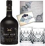 Gin Geschenk-Set Sansibar Luxus-DryGin inkl. 2 schwarzen Gin-Gläsern. Das Geschenk für Liebhaber Luxusgeschenk für Männer
