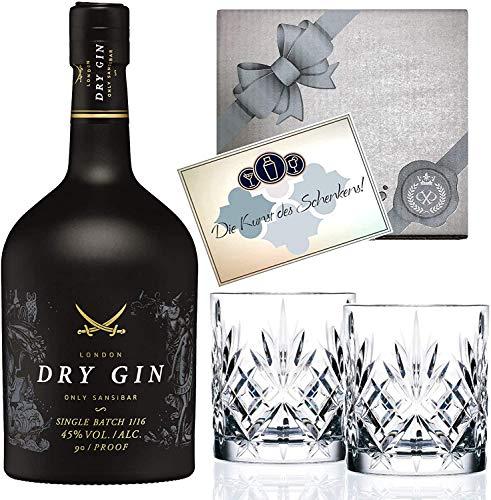 Gin Geschenk-Set Sansibar Luxus-Dry Gin (0.7 l) inkl. 2 Tumbler Gläsern. Das Luxusgeschenk für den Genießer