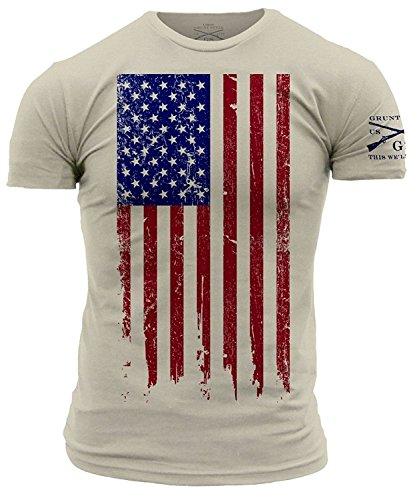 Grunt Style America Patriotic Flag Men's Shirt, Color Natural. Size L
