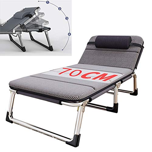 Lounger Slaapbed Indoor Outdoor Camping Chaise Lounge Dutje Dubbellaags Oxford Strong Opvouwbare campingbedjes voor volwassenen,With cushion b
