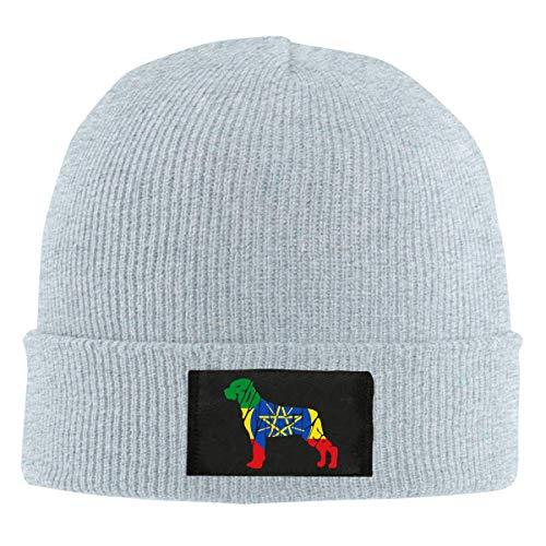 Herren und Damen Äthiopien Flagge Rottweiler Hund Strickmütze, Winter Warm Snow Ski Caps