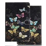 Hülle für PC Tablette Samsung Galaxy Tab A 10.1 (2016) T580 T585 T587 - Tasche Leder Flip Hülle Etui Schutzhülle Cover für Tab A 6 SM-T580N T585N, Bunter Schmetterling