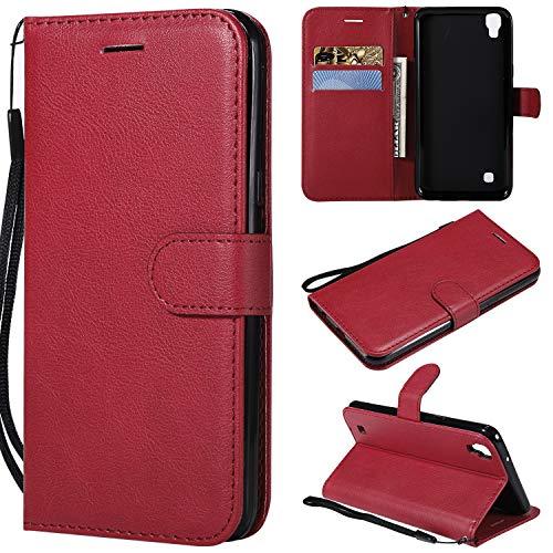 ViViKaya Custodia per LG XPOWER, Pelle Flip Libro Portafoglio Protezione Custodia in TPU Cover Protettiva per LG XPOWER [Rosso]