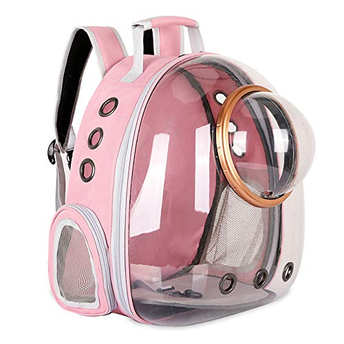Sipobuy Mochila Cápsula Espacio para Mascotas, Portador De Perro Cachorro Pequeño Mediano, Transparente Transpirable Resistente Al Calor, Portador De Mascotas para Viajes Senderismo Camping (Pink)