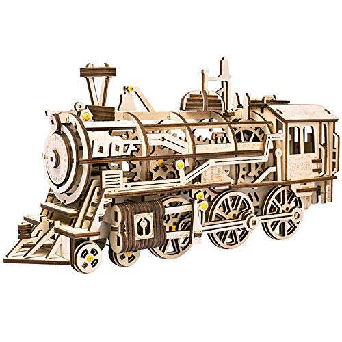ROKR Lokomotive: Mechanische Zahnräder Moving Holz 3D Train Puzzle Modell: Alter 14 p