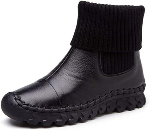 botas De Tobillo De Terciopelo para mujer Hechas A Mano plataforma Plana De Invierno CóModos zapatos Casuales Slip-On De Cuero De Vaca botas De Nieve De Felpa Cortas