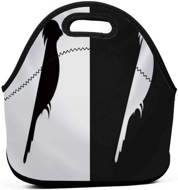 ADONINELP Bolsa de almuerzo portátil para Bento,icono de cacatúa sobre fondo blanco y negro,paquete de neopreno con cremallera para el trabajo escolar,oficina,bolso de viaje