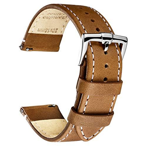 B&E Bracelets de Montres Cuir Pleine Fleur Libération Rapide Watch Bands de Rechange pour Homme et Femme - 16mm 18mm 19mm 22mm 22mm