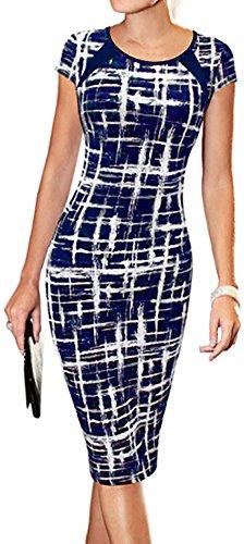 LunaJany Women's Short Sleeve Striped Work Casual Business Church Midi Dress Medium Navy