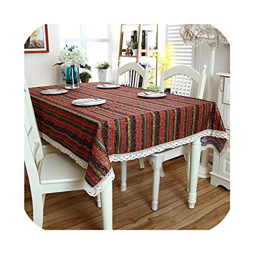 N12H Linnen Katoen Tafelkleed Beroemde Wind Gilding Streep Wit Kant Hem Splice Wasbare Tafelkleed voor Koffie Diner Bruiloft Banket