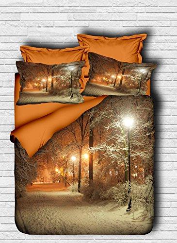 OZINCI DecoMood Bettwäsche-Set mit Baum, 3D-Druck, Winter, Schnee und Baum, Mehrfarbig, 4-teilig Full Multi
