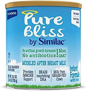 Pure Bliss by Similac Infant Formula, Modeled After Breast Milk, Non-GMO Baby Formula, 24.7 ounces, 4 count