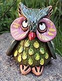 Rostalgie Keramik Eule Enzi grün mit Punkten12x10cm Handarbeit Garten Dekofigur Töpfer