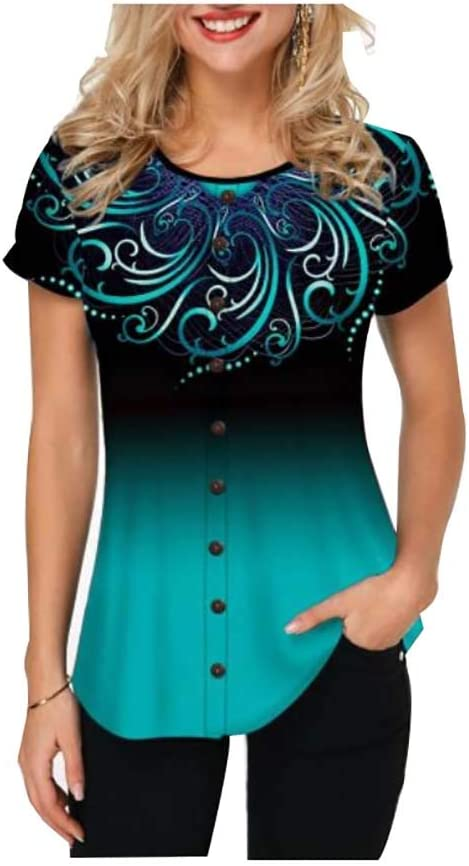 Women T Shirts Button Embellished Round Neck Printed Blouse Short Sleeve