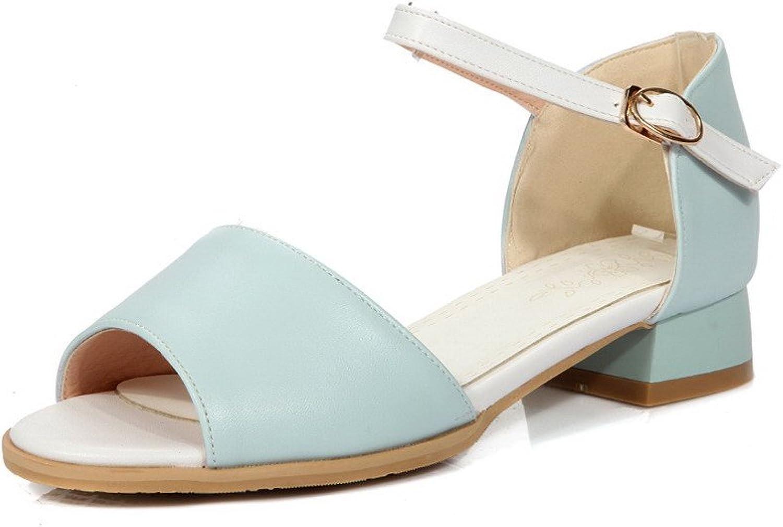 WeiPoot Women's Low-Heels Soft Material Assorted color Buckle Open Toe Sandals