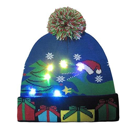Azruma LED leuchten Hut Mütze Stricken, Bunte LED Xmas Weihnachten Hut Mütze, Winter Schnee Hut Pullover hässliche Urlaub Hut Beanie Cap