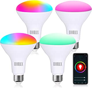 OHLUX Smart WiFi Flood Light Bulb E26 Base 1000Lumen (100W Equivalent),10W BR30 LED Bulb Compatible with Alexa, Google Home, IFTTT, Siri, 2700K-6500K Dimmable, Indoor use (No hub Required) - 4Pack