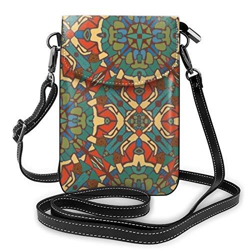 Mosiac Rust Routes - Bolso bandolera de piel para teléfono móvil, ligero, para mujer, para viajes de compras