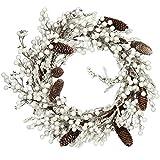 com-four® Corona de Puerta de Navidad - Corona de Adviento con piñas y Bayas Blancas - Corona Decorativa -...