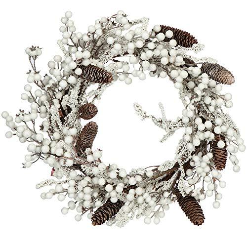 com-four® Türkranz Weihnachten - Adventskranz mit Pinienzapfen und weißen Beeren - Dekokranz - Weihnachtsdeko - Tischkranz - Weihnachtskranz - Ø 50 cm