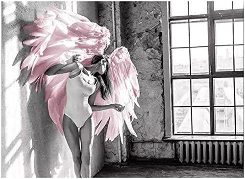 Crazystore Impresión de Lienzo 70x90cm sin Marco alas de ángel Rosa Pluma Imagen Arte impresión Cartel...
