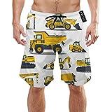 Ye Hua Carretillas Elevadoras, grúas, excavadoras, Tractores, bulldozers, Camiones Bañadores Cortos para Hombres con Forro de Malla Trajes de baño de Secado rápido para Hombres Shorts de baño XL