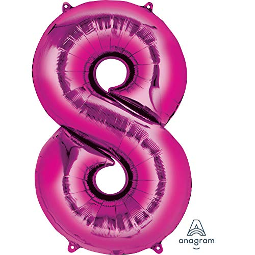 amscan NEU Folienballon Große Zahl 8 pink, 55x88 cm