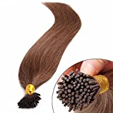 Extensions en Cheveux Naturels Pose a Froid - 45cm - 100 mèches(0.5g/mèche) - Pre bonded I-tip Remy Hair Extensions - #06 Marron clair