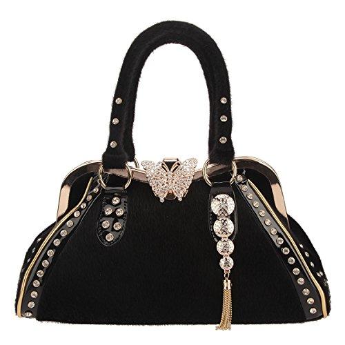 Bonjanvye Butterfly Tassel Fur Crystal Handbags for Women Top-Handle Bags Black