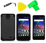 Hybrid Cover Case Cell Phone Accessory + Screen Protector + Extreme Band + Stylus Pen + Pry Tool For ZTE Midnight Pro Z828TL (Bling Black Black)