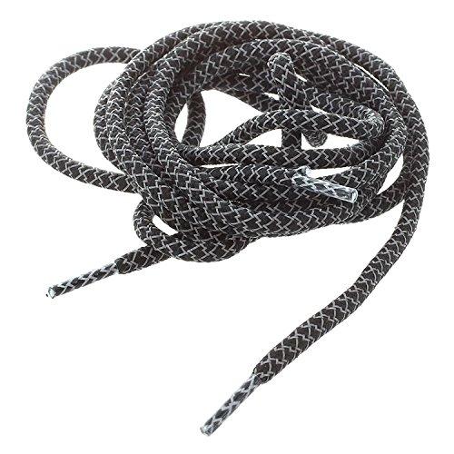 Schnuersenkel - TOOGOO(R)Rundes Seil 3M Reflektierende Laeufer Rennen Sport Schnuersenkel (A-Style schwarz)