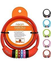 nean Fietsslot voor kinderen, kabelslot met cijfers, extra licht, eenvoudig te bedienen, cijferslot met code-combinatie, gehard staaldraad,10 x 650 mm