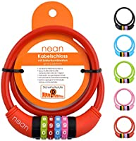 nean Fietsslot voor kinderen, cijfercode-combinatie-kabelslot, kleurrijk, 10 x 650 mm