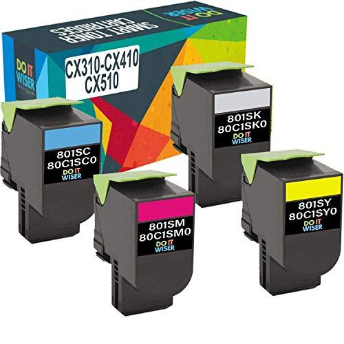 Do it Wiser Compatible Toner Cartridge Replacement for Lexmark CX310n CX310dn CX410de CX410dte CX410e CX510de CX510dthe CX510dhe - 4 Pack
